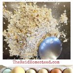 eggshell dust and a dozen colorful eggs, with text overlay How to Use Eggshells in the Garden