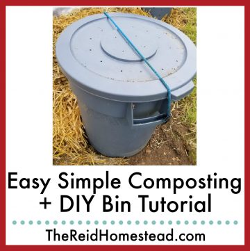 photo of a diy compost bin made from a trash can with text overlay Easy Simple Composting + DIY Bin Tutorial