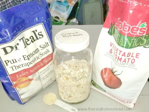 supplements I add when planting tomatoes, epsom salts, crushed eggshells, organic vegetable fertilizer