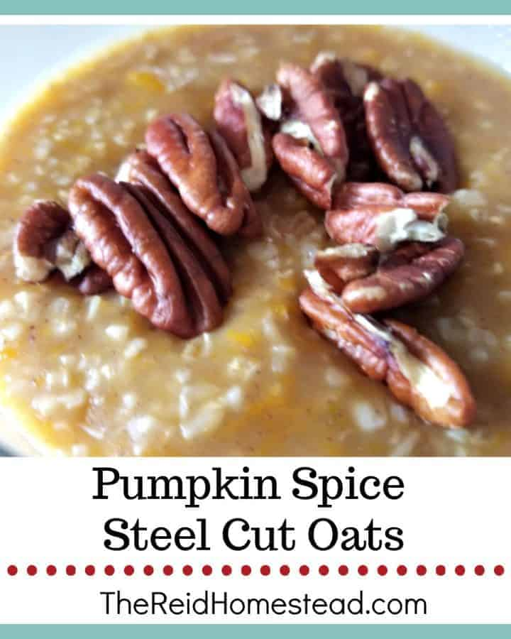 close up of pumpkin spice steel cut oats with pecans on top with text overlay Pumpkin Spice Steel Cut Oats