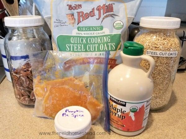 Ingredients for Hearty Pumpkin Spice Steel Cut Oats - The Reid Homestead #breakfast #steelcutoats #recipe #pumpkinspice #homesteadkitchen