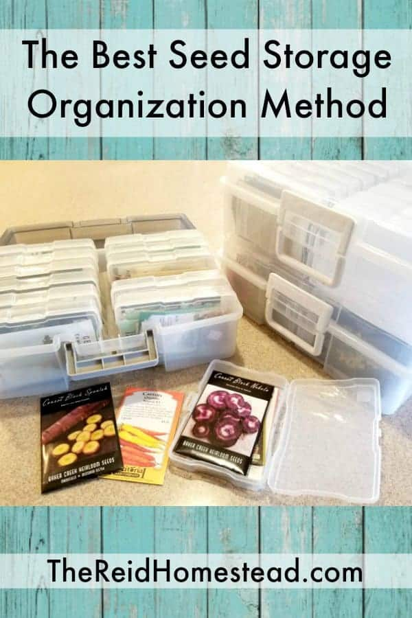 The best ever seed storage organization method using photo boxes! Get your gardening projects all neat and tidy this year! #seedorganization #seedstorage #photoboxes #organization #declutter
