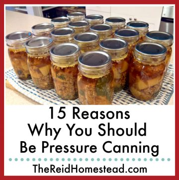 close up of canned zuppa tuscano soup with text overlay 15 Reasons Why You Should be Pressure Canning