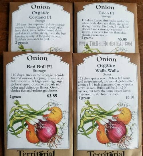 4 onions seed packets: Cortland, Talon, Red Bull and Walla Walla onion varieties