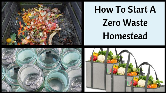 compost pile, glass jars, reusable shopping bags with text overlay How to Start a Zero Waste Homestead