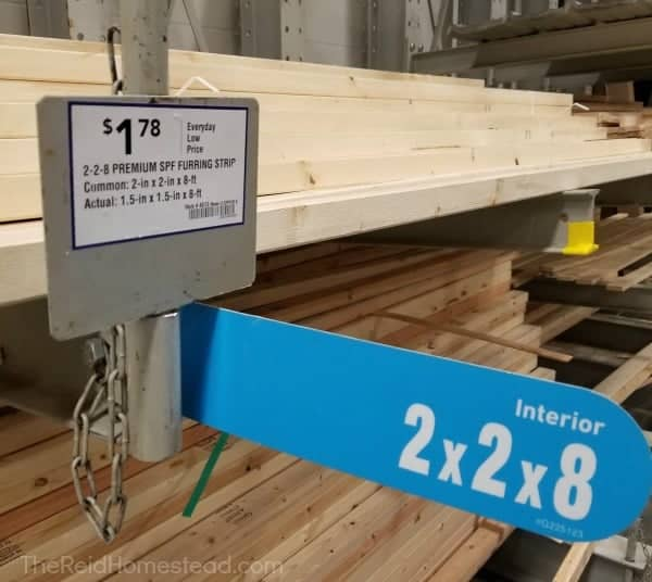 2x2x8's for sale at Lowes