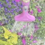 flowers being watered by a sprayer on the end of a hose with text overlay Tips on Watering Your Garden Properly