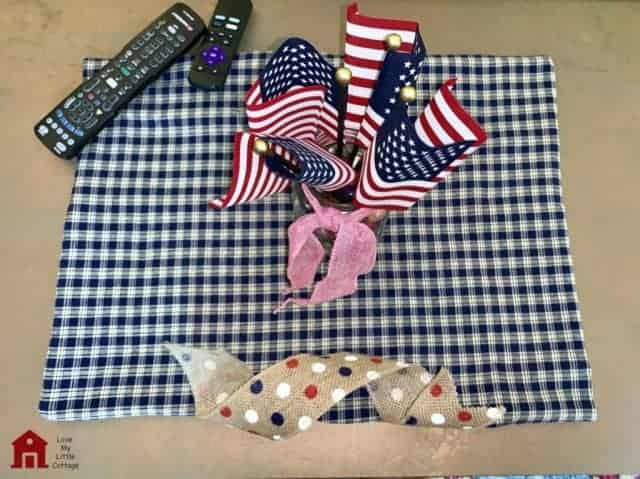 navy and white checkered table runner