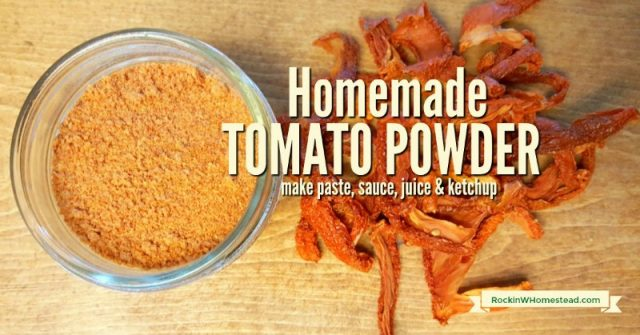bowl of Tomato Powder with text overlay Homemade Tomato Powder