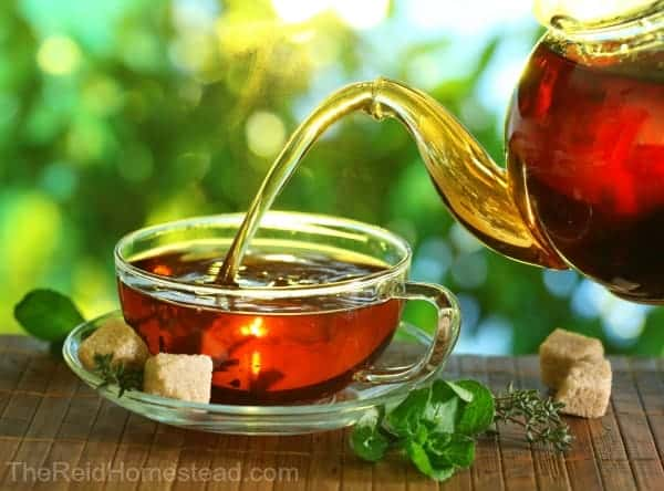 Pouring tea from a teapot into a cup on a blurred background of nature