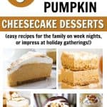 5 different pumpkin cheesecake dessert images with text overlay 9 easy no bake pumpkin cheesecake desserts - easy recipes for the family on week nights, or impress at holiday gatherings!