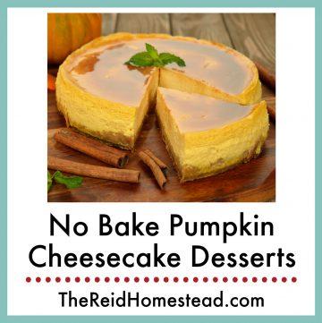 pumpkin cheesecake with text overlay No Bake Pumpkin Cheesecake Desserts