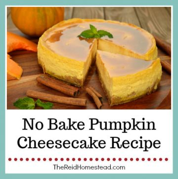 a plate with a pumpkin cheesecake on it with cinnamon sticks next to it with text overlay No Bake Pumpkin Cheesecake Recipe