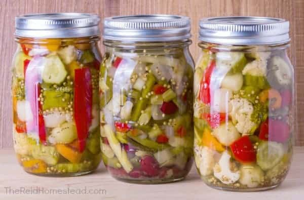 three jars of mixed vegetables fermented in mason jars