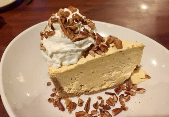 a slice of pumpkin cheesecake