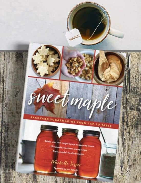 photograph of the book Sweet Maple with a cup of tea