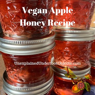 stacked mason jars of Apple Honey with text overlay Vegan Apple Honey Recipe