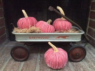 wagon full of handmade velvet pumpkins