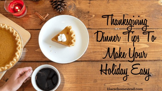 piece of pumpkin pie and cup of coffee with text overlay Thanksgiving Dinner tips to Make Your Holiday Easy