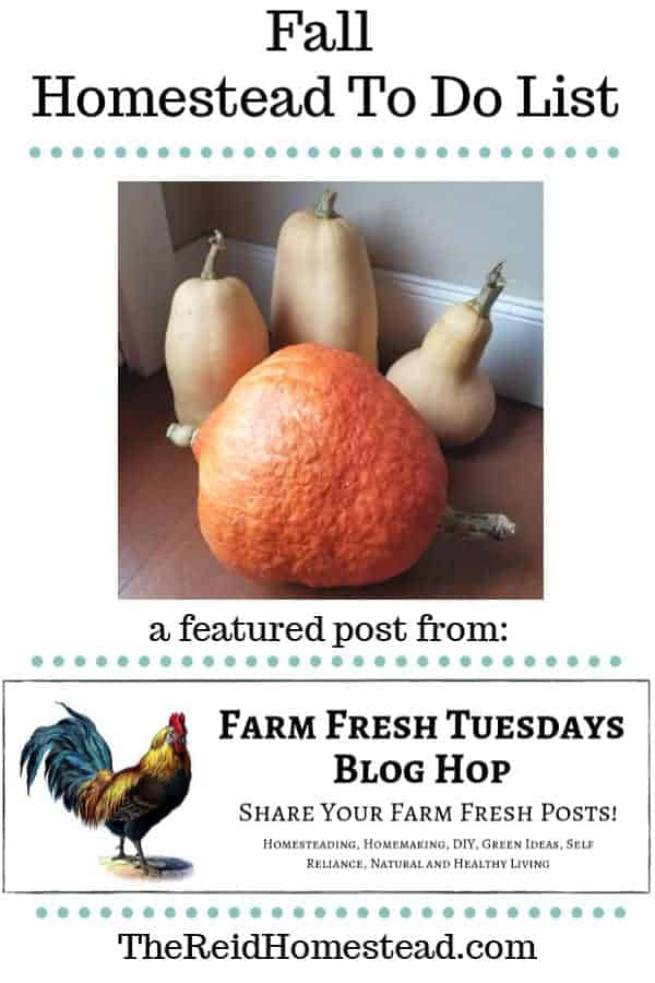 winter squash with text overlay fall homestead to do list, a featured post from the farm fresh tuesday blog hop