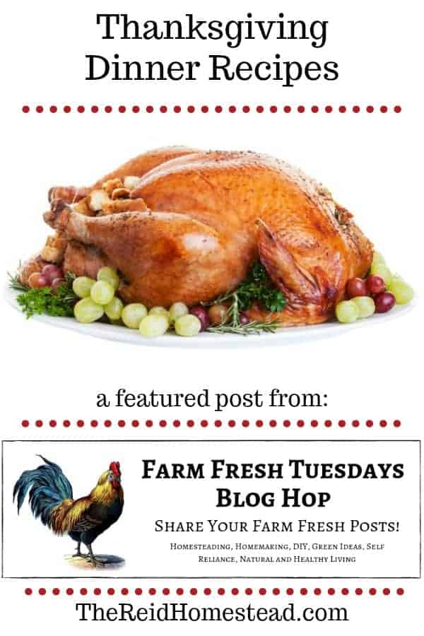 roasted turkey on platter with text overlay Thanksgiving Dinner Recipes a featured post from farm fresh tuesday blog hop