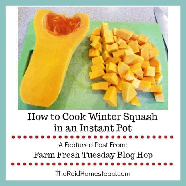 half a butternut squash and a pile of cubed winter squash on a cutting board with text overlay How to Cook Winter Squash in an Instant Pot