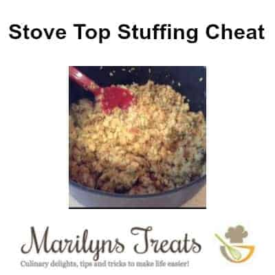 bowl of stuffing with text overlay Stove Top Stuffing Cheat