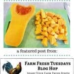 a pinterest pin with an image of half a butternut squash with a pile of cubed butternut squash on a cutting board, with text overlay How to Cook Winter Squash in an Instant Pot