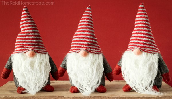 3 christmas gnomes with red and white striped hats