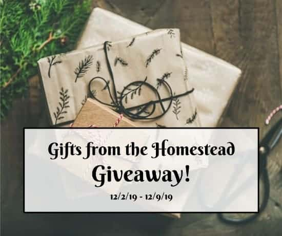 two wrapped gifts in brown paper with text overlay Gifts from the Homestead giveaway
