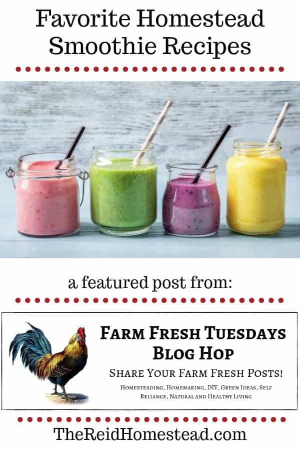 4 smoothies with text overlay favorite homestead smoothie recipes