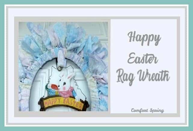 an easter rag wreath with text overlay Happy Easter Rag Wreath