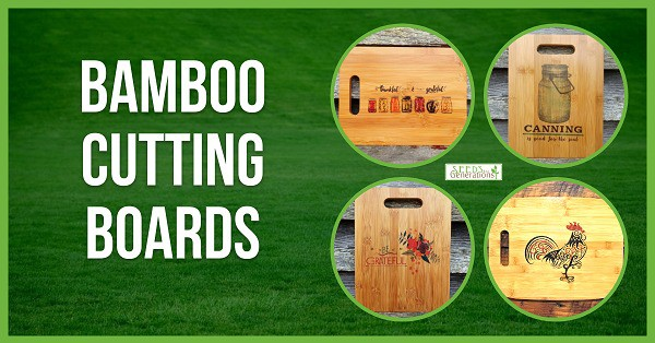 green rectangle with 4 photos of cutting boards with text overlay Bamboo Cutting boards