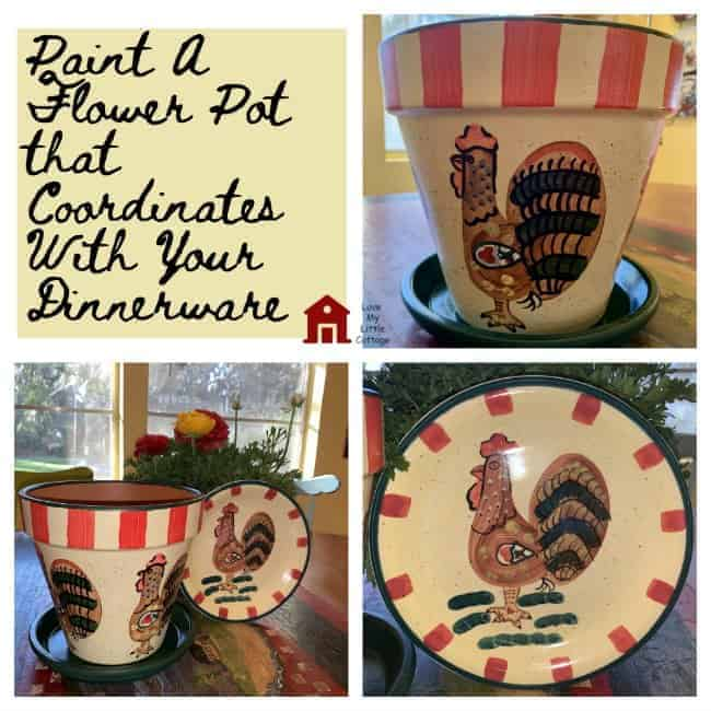 a painted flower pot with a rooster on it