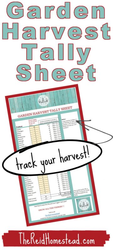 a smaller image of our garden harvest tally spreadsheet with text overlay Garden Harvest Tally Spreadsheet - Track Your Harvest!