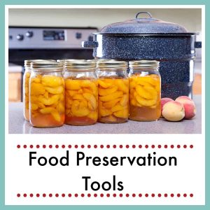 canned peaches on counter by water bath canner with text overlay Food Preservation Tools