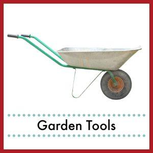 wheel barrow with text overlay Garden Tools