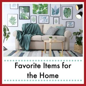 a counch with a throw with prints of plants hanging on the wall behind with text overlay Favorites for the Home