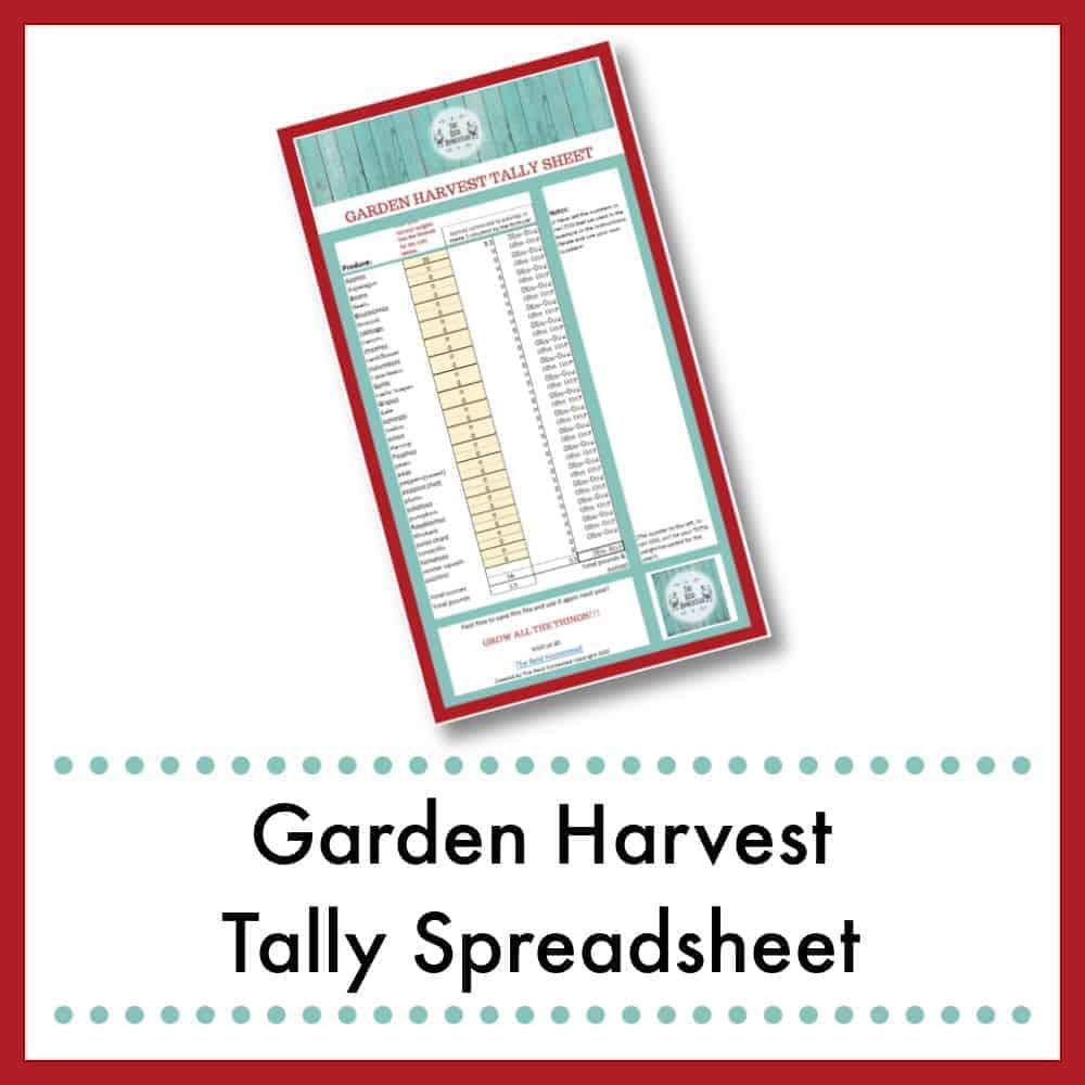small image of my Garden Harvest Tally Spreadsheet