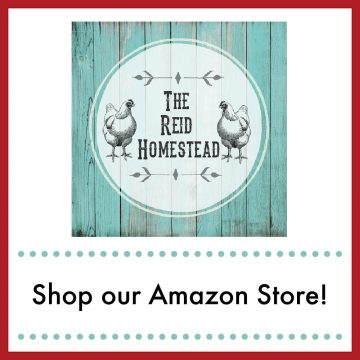 The Reid Homestead logo image with 2 chickens on either side of the words, with text overlay Shop Our Amazon Store