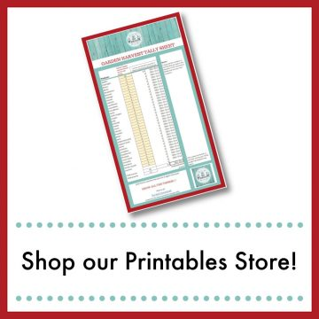 small image of our garden harvest printable with text overlay Shop Our Printables Store