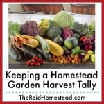 photo of a vegetable harvest with text overlay Keeping a Homestead Garden Harvest Tally