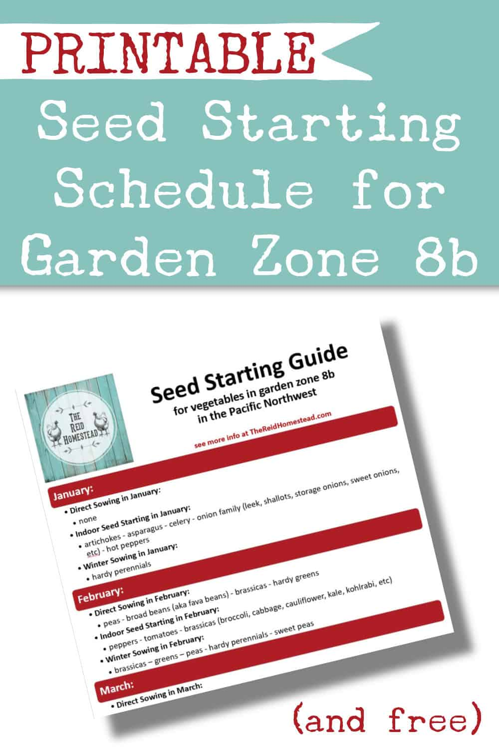 small image of my free seed starting schedule printable with text overlay Printable Seed Starting Schedule for Garden Zone 8b