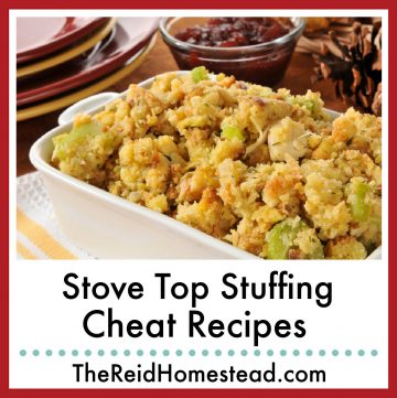 a serving dish of stuffing with text overlay Stove Top Stuffing Cheat Recipes